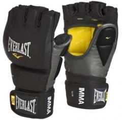 Перчатки для рукопашного боя Everlast Перчатки профессиональные для боев MMA (L/XL, кожа, черный/серый)